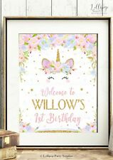 UNICORN WELCOME SIGN PARTY DECORATION PRINT 1ST FIRST BIRTHDAY FLORAL SMILEY