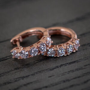 Rose Gold Unisex Iced 5A Quality CZ Sterling Silver Huggie Hoop Earrings