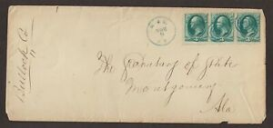 RPO: M(ontgomery). & E(ufaula). R.R. 1870s Legal Size Cover, Alabama Railroad