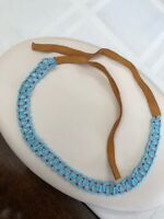 "Vintage Bohemian  Turquoise seed bead choker necklace leather tie on  25"" Long"