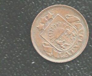 LATVIA 2 CENTIM 1922 BRONZE