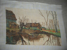 "VINTAGE COMPLETED NEEDLEPOINT VERY FINE GOBELIN GOBLIN HOUSE RIVER 13.5""X9.25"""