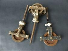 Three antique Pulley Wheels for a Kitchen Clothes Dryer 2 Single 1 Double