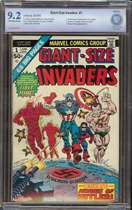 Giant Size Invaders # 1 CBCS 9.2 OW/W (Marvel 1975 ) Origin of Captain America