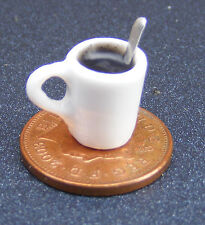 1:12 Scale Small White Mug With Coffee & Spoon Dolls House Miniature w63a Drink
