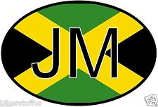 JM JAMAICA COUNTRY CODE OVAL WITH FLAG STICKER BUMPER STICKER LAPTOP STICKER