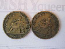 2 COIN SET 1922 & 23 ONE 1 FRANC! Vintage FRANCE coin COMMERCE INDUSTRIE bronze