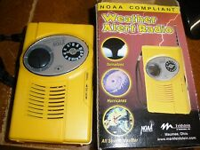 NOAA Weather Alert Radio tested & works perfect yellow in box