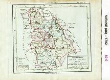 Dépt 86 - XVIII ème Carte de la Vienne Superbe Gravure Cuivre Aquarellée 1792