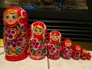 Russian Nesting Dolls Beautiful Flowers!! 7 pieces! Nice Gift!!