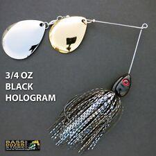 Bassdozer spinnerbaits DEEP CUP 3/4 oz BLACK HOLOGRAM spinner bait fishing lures