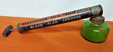 """Black Flag Bug Sprayer Duster Green Glass Bottle Vintage1950's 11"""" wood handle"""