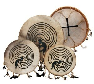Schamanentrommel bemalt Ø 35 cm Rund Indianer Federn Shaman Drum inkl. Schlägel