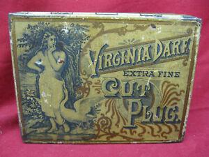 Antique Virginia Dare Cut Plug Tobacco Tin, 4 ounce All Original