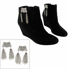 Vintage Shoe Clips Pair Silver Tone Filigree Tassel Fringe