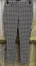 Next Black/Cream Cotton Blend Capri Pants UK8 Long EU36 Hardly Worn