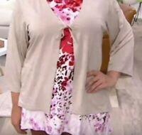 LOGO Layers Lori Goldstein Size 2X Tie Front Hi-Low Kimono Slv Cardigan Oatmeal
