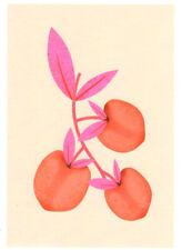 FINE ART GREETING CARD FLOWERS Peaches BIRTHDAY Blank RISOGRAPH MELISSA DONNE