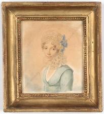 "Auguste Simon Garnerey-Attrib. ""Portrait of a young lady"", watercolor, 1810/15"