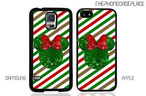 Disney Minnie Mouse Christmas Glitter Phone Case for Apple or Samsung Phone Case