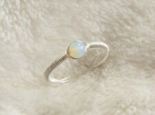 Moonstone Sterling Silver Wire Wrapped Simple Ring Handmade Size Small