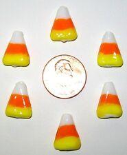"HALLOWEEN CANDY CORN LAMPWORK BEADS-6 PIECES-ORANGE/YELLOW/WHITE-GLASS-9/16""X3/8"