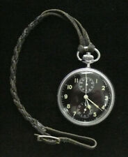 BREITLING Model 5054 18J Vintage Military Pocket Watch/Chrono - Clear Back - EUC