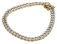 "Mens Cuban Link Chain Bracelet Real Diamond 10K Yellow Gold 1 4/5CT 8.5"""