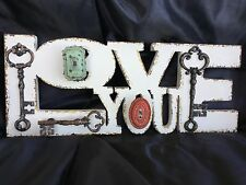 White Wood Wall Sign Love You