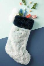 Anthropologie So Soft Large Pom Pom Faux Fur Blue Christmas Stocking NEW