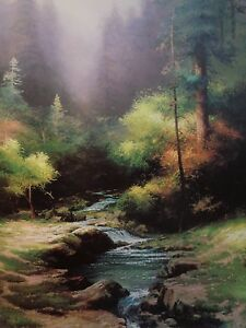 Thomas Kinkade Creekside Trail Lithograph with certificate image about 24x17 3/4