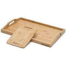 100% Premium Wood Serving Tray With Handles - No MDF - Includes Free Bonus Board