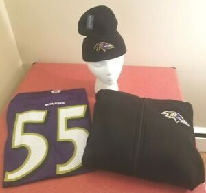 Baltimore Ravens NFL Purple Terrell Suggs #55 Large Jersey Winter Package