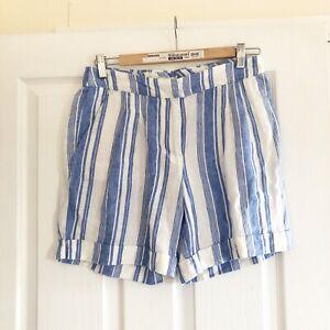 Boden Shorts Sz 8 Blue White Stripe 100% Linen Elasticated Waist