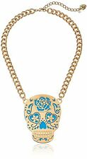 LUV BETSEY JOHNSON SUGAR SKULL NECKLACE DAY OF THE DAY JEWELRY GOLD TONE AQUA