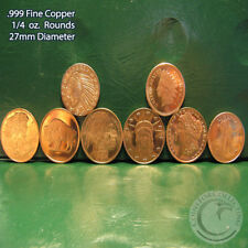 8 Different Designs of 1/4 oz .999 Copper Rounds READ for Designs