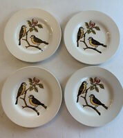 """Royal Stafford DECOUPAGE Salad Plates 8.5"""" Birds Branch Set of 4 Yellow Breasted"""