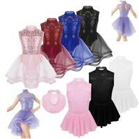 Girls Kids Ballet Dance Leotard Dress Lace Ice Skating Dress Leotard Gymnastics