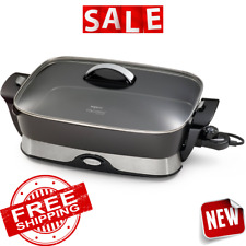 SKILLET ELECTRIC BUFFET SERVER Non Stick Fry Pan Grill Roast Warming Tray Dining