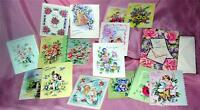 RARE UNUSED 1940S VTG BOX W 15 SMALL CHARMING GIFT / THANK YOU CARDS & ENVELOPES