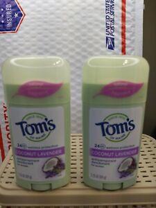 2 Tom's of Maine Antiperspirant Deodorant Coconut Lavender 2.25 Oz ea. exp 10/21