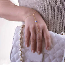 Womens Gold Color Evil Eye Finger Ring Bracelet Hand Chain Harness Jewelry