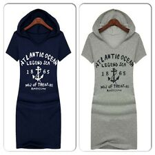 Ladies Womens Navy Blue Anchor Dress Hoodie Hoody Teens Grey Top Long Sailor