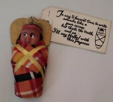 Vintage Native American Indian Baby Papoose Doll w/ Postcard Attached Kinzua Dam