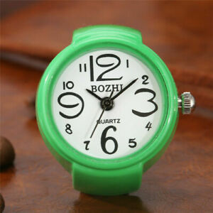 Candy Color Ring Watch Finger Quartz Analog Wrist Watch for Lady  Elastic Band