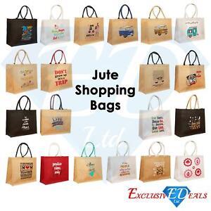 Large Jute Hessian Shopping Bag Hessian Eco-Reusable Gift Tote Lunch Handbag