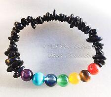Gemstone Crystal Chip Black Tourmaline Chakra Beads Stretchy Bracelet Protection