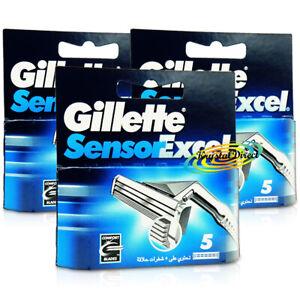 3x Gillette Sensor Excel Pack of 5 Replacement Shaving Razor Blades 100% Genuine