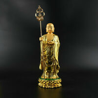 28.5cm Chinese Resin Gild Buddhism Ksitigarbha Boddhisattva Netherworld Leader