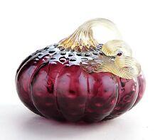 """New 7"""" Hand Blown Art Glass Pumpkin Sculpture Fall Purple Harvest"""